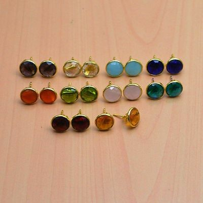 925 Solid Sterling Silver &24K Gold Overlay Wholesale 10Pair Citrine Earring Lot