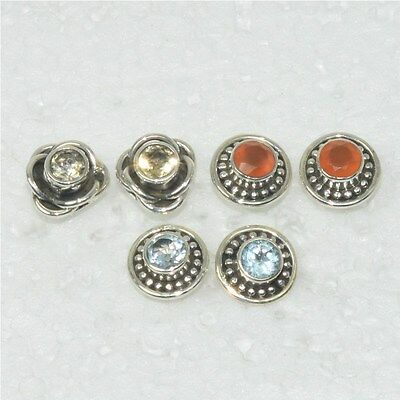 Wholesale 3Pair 925 Solid Sterling Silver Natural Citrine Stud Earring Lot