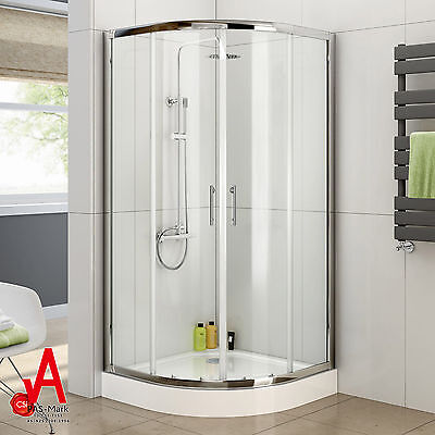 900x900x1900mm Round Sliding Curved Shower Screen Matching Shower Base included