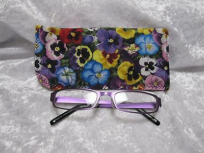 Jazberryz PANSIES Padded Spectacle Glasses Soft Pouch Case Handmade