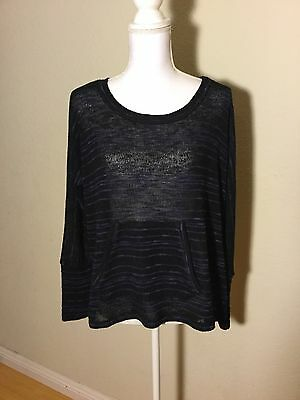 Splendid Loose Knit Top Shirt Blouse Long Sleeve Size Small In Navy Blue