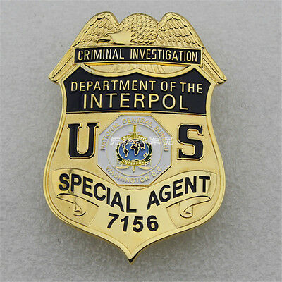 US DEPARTMENT OF INTERPOL Special Agent Metal Copper Badge Pin Brooches 7156