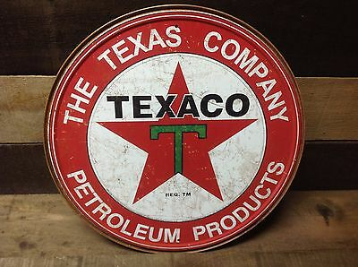 TEXACO PETROLEUM PRODUCTS Round Sign Tin Vintage Garage Bar Decor Old Rustic