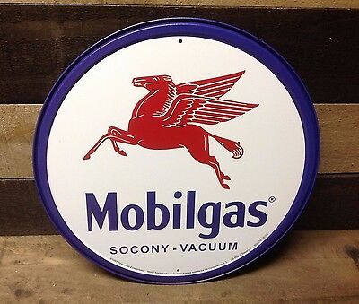 MOBILGAS PEGASUS SOCONY Round Sign Tin Vintage Garage Bar Decor Old Rustic