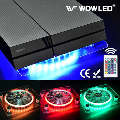 USB RGB LED PC Cooling Fan Pad Stand with IR Remote Wireless Controller for PS4