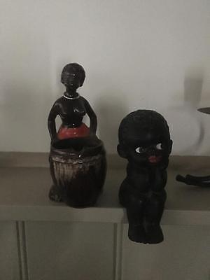 Vintage Black Lady Ashtray & Black Boy Ornament Old & Collectable - Great Price