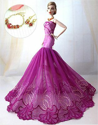 B158 lots of Barbie clothes wedding dress gown jewelry set for barbie dolls