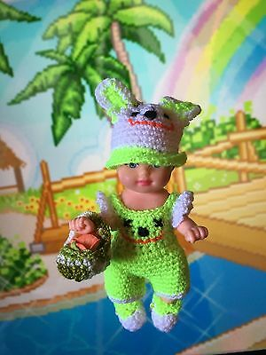 crochet clothes krissy outfit Dress Hat Under Wear Shoe  2 1/2 Baby Barbie Sis