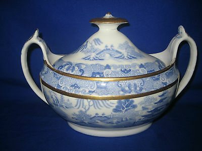 Antique Spode  Blue and White with Gold Trim  Sugar Bowl