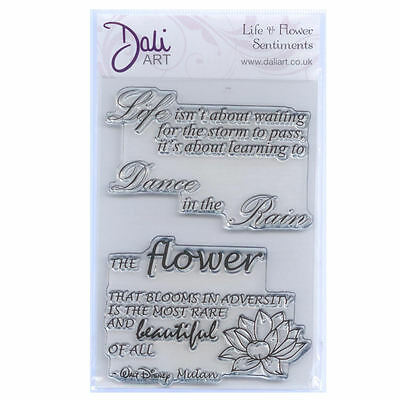 Dali Art A6 Clear Rubber Stamp - Life & Flower Sentiments