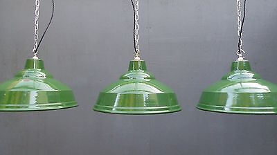 Vintage Industrial 1940's Tiered Enamel Station Factory Pendant Light