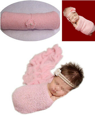 Newborn Baby Pink Stretchy Mohair Cocoon Wrap Swaddle +Headband Photography Prop