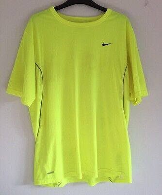 Mens NIKE Fit Dry Gym/Running T-Shirt - Size L - Yellow