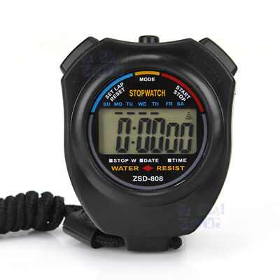 2X Handheld Digital LCD Chronograph Sports Counter Stopwatch Timer Stop Watch