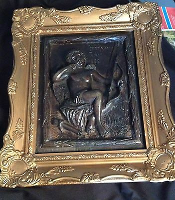 Framed Victorian Bronze Plaque of cupid signed