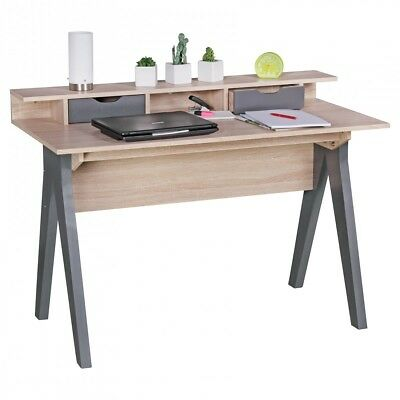 FineBuy desk 120cm Design office table Sonoma oak / gray computer table