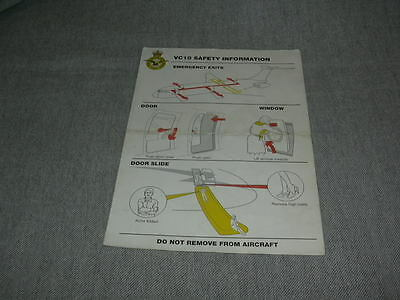 Royal Air Force Vickers VC-10 Safety Card / Instruction