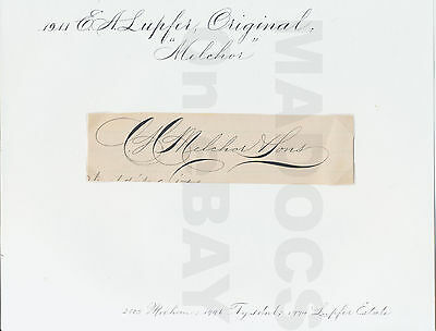 """1911 E A Lupfer """"Melchor & Sons"""" Original Signature, Collection of E A Lupfer"""