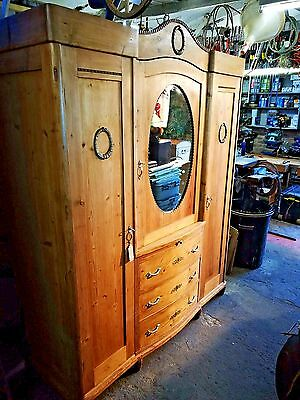 A Stunning Early 20Th Century Very Large Antique  Solid Pine Armoire Wardro