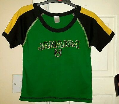 JAMAICA Boys t-shirt top age 3-4 years. Green yellow black. Gift from Jamaica