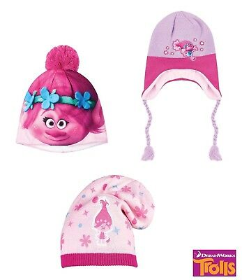 Girls Kids CHILDRENS Trolls Winter Hats age 3- 9 Years
