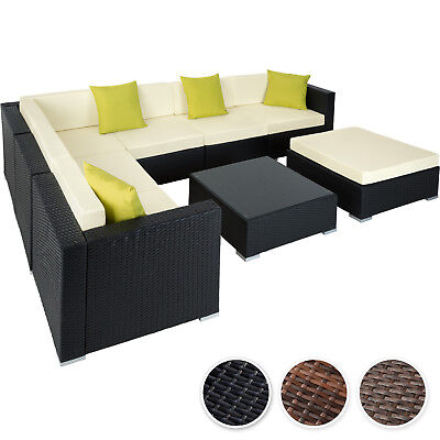 Ensemble salon de jardin aluminium résine tressée poly rotin table sofa