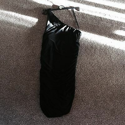 Black Designer  Fitted Body Con Designer Dress Size 12 New
