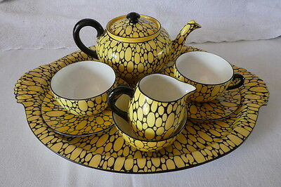 Rare Shelley Bubbles Pattern Tea For Two Set on Tray