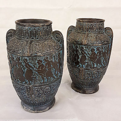 Egyptian Form Pair of Bronzed Moulded Terracotta Vases