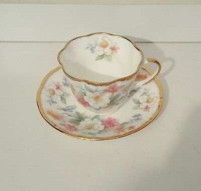"""Vintage  Queens China """"English Charm """" bone china cup and saucer"""