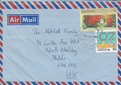 M 874 Queensland June 1990 air cover UK; big $2.80 rate; 80c Living Together +