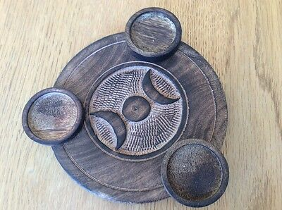 Wooden Candle Tealight Holder with Goddess Triple Moon design, Pagan Gift