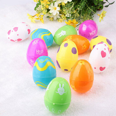 Colorful 12PCS ABS Painting Easter Eggs Wreaths Crafts Ornaments Decor Supply