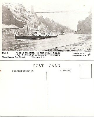 Postcard Pamlin Print Croydon M2645 Paddle Steamers The Avon Gorge Whitsun 1911