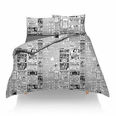 King Size News Paper  Duvet Set Quilt Cover And Pillow Cases New Sealed Unopened