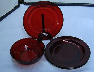 Ruby Red Replacements  -  3 Plates & 1 bowl  - Arcoroc France