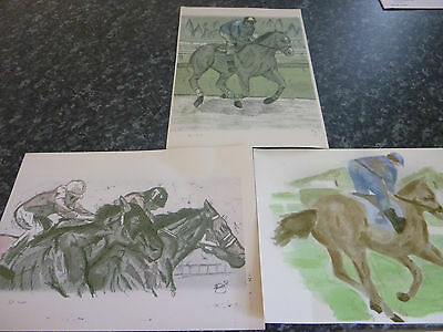 3 no LOVELY LIMITED HORSE RACING WATERCOLOURS