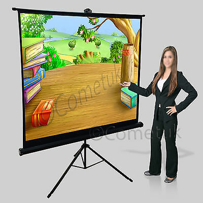 Portable 125x 125cm Tripod Stand Manual Projector Screen Matte Cinema Projection