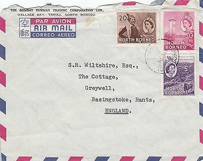 M 1812  North Borneo  Tawau 1956 air cover to UK; 3 stamps;  55c rate