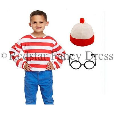 Boys Red And White Fancy Dress Costume Kids World Book Day Age 4-12