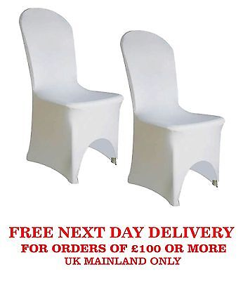 50 /100 White Premierm Quality Spandex Lycra Chair Cover Banquet ARCH FRONT