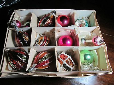 Vintage Christmas Ornaments Mercury Glass Old Decorations 12 Assorted Baubles