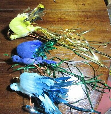 Vintage Christmas Ornaments  Old Decorations Feathered Birds Doves Tinsel Tails