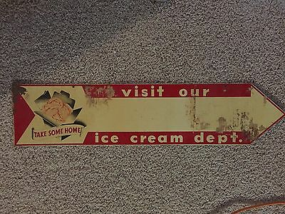 Vintage Ice Cream Department Store Display 2 Sided Metal Arrow Diner Sign