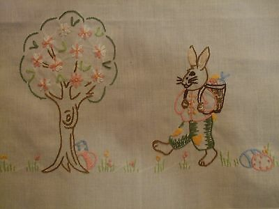 Vintage HAND-Embroidered Easter Tablecloth | Rabbit Easter Egg Table Linen+GIFT*