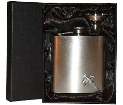 Pheasant Hip Flask 6oz with Pewter Flying Bird Emblem Gift Boxed Chrome Drink