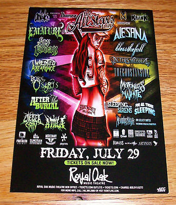 ALESANA Emmure In This Moment For Today Bless The Fall CONCERT FLYER CARD 2011
