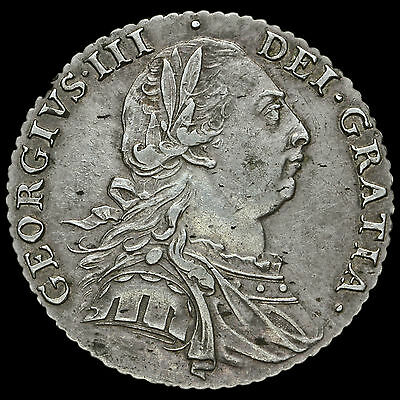 1787 George III Early Milled Silver Shilling, Hearts, Near EF