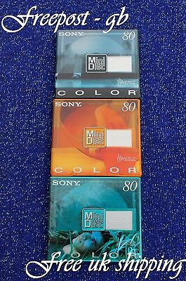 3 x SONY AUDIO MINI DISCS - 80 MINUTES SHOCK ABSORBING SYSTEM - MDW-80 COLOURED