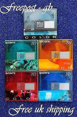 5 x SONY BLANK MINI DISCS - 80 MINUTES SHOCK ABSORBING SYSTEM - COLOUR RANGE